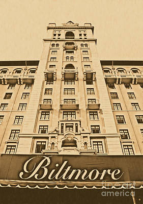 Photograph - Biltmore Hotel Miami Coral Gables Florida Exterior Awning And Tower Rustic Digital Art by Shawn O'Brien