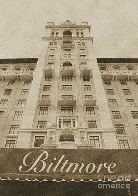 Digital Art - Biltmore Hotel Miami Coral Gables Florida Exterior Awning And Tower Vintage Digital Art by Shawn O'Brien