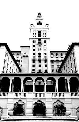 Digital Art - Biltmore Hotel Miami Coral Gables Florida Exterior Colonnade And Tower Bw Conte Crayon Digital Art by Shawn O'Brien