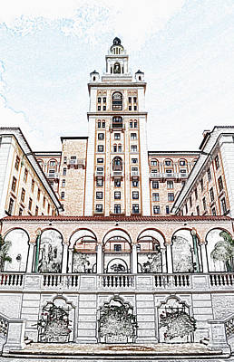 Digital Art - Biltmore Hotel Miami Coral Gables Florida Exterior Colonnade And Tower Colored Pencil Digital Art by Shawn O'Brien