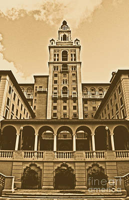 Digital Art - Biltmore Hotel Miami Coral Gables Florida Exterior Colonnade And Tower Rustic Digital Art by Shawn O'Brien