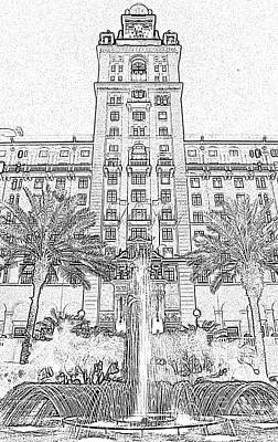 Digital Art - Biltmore Hotel Miami Coral Gables Florida Exterior Entrance Tower Black And White Digital Art by Shawn O'Brien