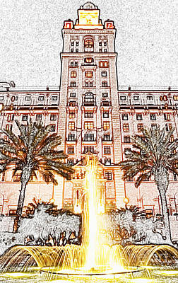Digital Art - Biltmore Hotel Miami Coral Gables Florida Exterior Entrance Tower Colored Pencil Digital Art by Shawn O'Brien