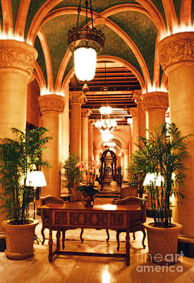 Digital Art - Biltmore Hotel Vintage Lobby Coral Gables Miami Florida Arches And Columns Diffuse Glow Digital Art by Shawn O'Brien