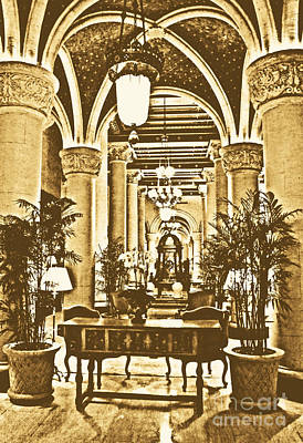 Digital Art - Biltmore Hotel Vintage Lobby Coral Gables Miami Florida Arches And Columns Rustic Digital Art by Shawn O'Brien