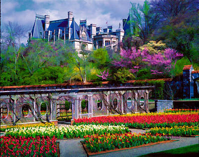 Biltmore Mixed Media - Biltmore House And Gardens by Garland Johnson
