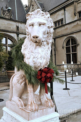 Asheville Photograph - Biltmore Mansion Estate Lion - Biltmore Mansion Mascot - Biltmore Lion Christmas Wreath by Kathy Fornal