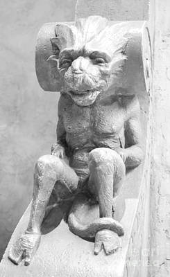 Photograph - Biltmore Miami Reclining Happy Gargoyle Black And White by Shawn O'Brien