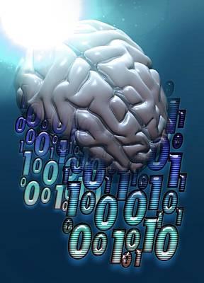 Binary Photograph - Binary Code And Human Brain by Victor Habbick Visions