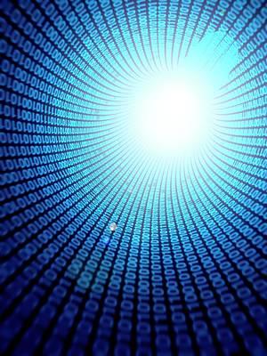 One Point Perspective Photograph - Binary Code by Sebastian Kaulitzki