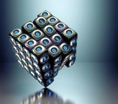 Binary Photograph - Binary Cube by Ktsdesign