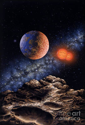 Painting - Binary Red Dwarf Star System by Lynette Cook