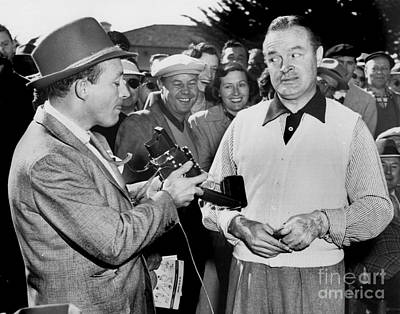 Photograph - Bing Crosby  And Bob Hope Ham It Up At Pebble Beach At The 1951  by California Views Mr Pat Hathaway Archives