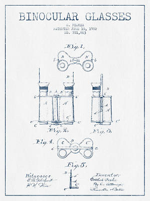 Glass Wall Digital Art - Binocular Glasses Patent Drawing From 1902 - Blue Ink by Aged Pixel
