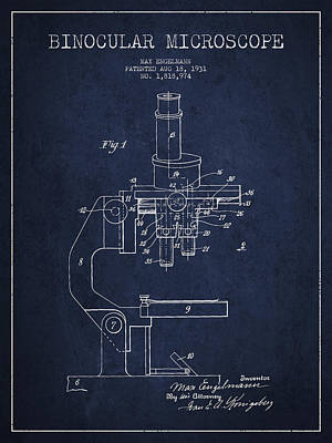 Glass Wall Digital Art - Binocular Microscope Patent Drawing From 1931 - Navy Blue by Aged Pixel