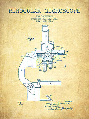 Glass Wall Digital Art - Binocular Microscope Patent Drawing From 1931 - Vintage Paper by Aged Pixel