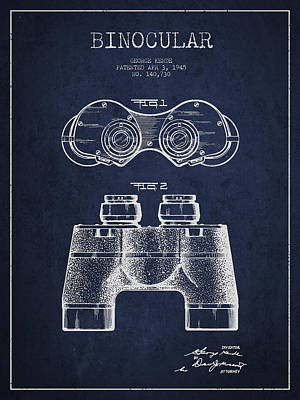 Glass Wall Digital Art - Binocular Patent Drawing From 1945 by Aged Pixel