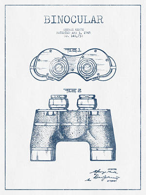 Glass Wall Digital Art - Binocular Patent Drawing From 1945  - Blue Ink by Aged Pixel