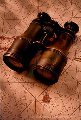 Binoculars On Old Map Art Print by Garry Gay