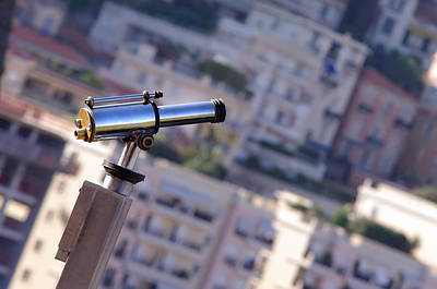 Binoculars View Of City Art Print by Ioan Panaite
