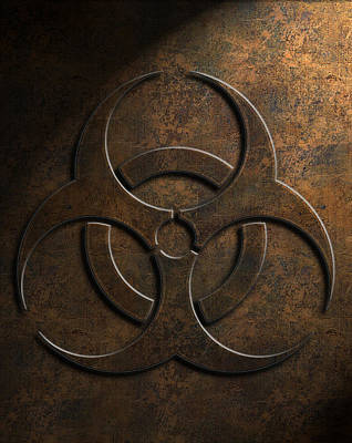 Print featuring the digital art Biohazard Symbol Stone Texture by Brian Carson