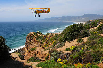 Point Dume Wall Art - Photograph - Biplane Fly By by Lynn Bauer