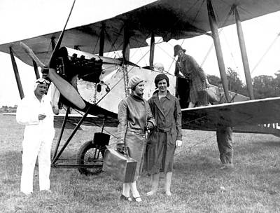 Women Together Photograph - Biplane Passenger Service by Underwood Archives