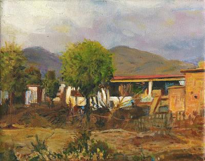 Village Hut Indian Landscape Painting