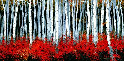 Birch Tree Painting - Birch 24 X 48  by Michael Swanson