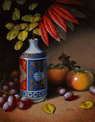Old World Still Life Painting - Birch And Sumac With Persimmons by Timothy Jones