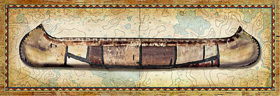 Birch Bark Canoe And Map Art Print by JQ Licensing