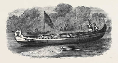 Outrigger Drawing - Birch-bark Canoe Presented To His Royal Highness The Prince by English School