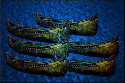 Birch Tree Photograph - Birch Bark Canoe Water Reflections by LeeAnn McLaneGoetz McLaneGoetzStudioLLCcom