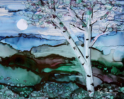 Painting - Birch By The Moon by Kim Thompson