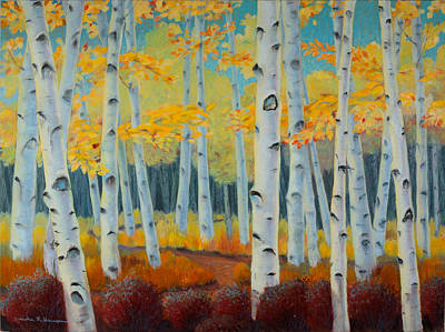 Painting - Birch Forest by Art Nomad Sandra  Hansen