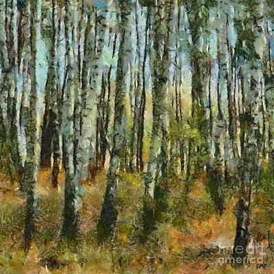 Birch Painting - Birch Forest by Dragica  Micki Fortuna