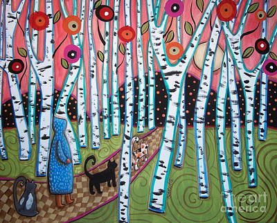 Folk Art Flowers Painting - Birch Grove by Karla Gerard