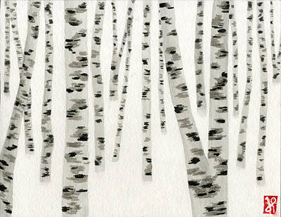 Painting - Birch In Snow by Jamie Seul