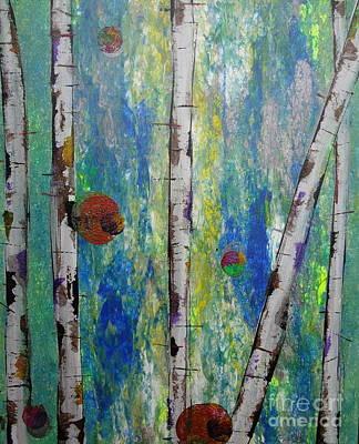 Birch - Lt. Green 4 Art Print