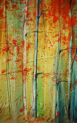 Painting - Birch Tree Forest - Right by Jani Freimann