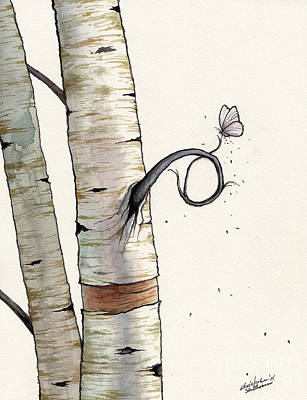 Painting - Birch Tree Meets White Butterfly by Christopher Shellhammer