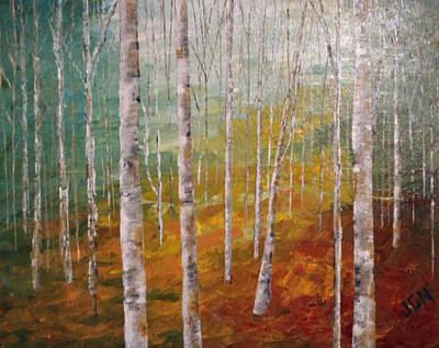Birch Trees #4 Art Print by Judith A Cahill