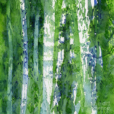 Abstract Illustration Painting - Birch Trees Abstract by Sharon Freeman