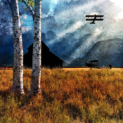 Old Barn Painting - Birch Trees And Biplanes  by Bob Orsillo