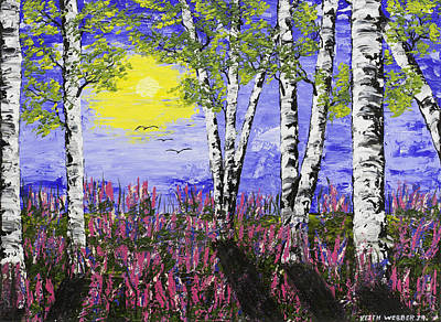 Birch Trees And Lupine Flowers Painting Art Print