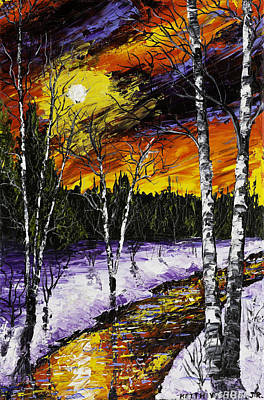Pallete Knife Painting - Birch Trees And Stream In Winter by Keith Webber Jr