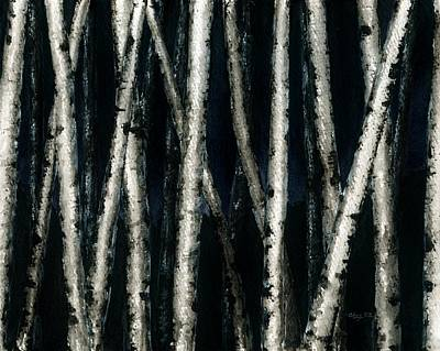 Painting - Birch Trees At Night by Anna Bronwyn Foley