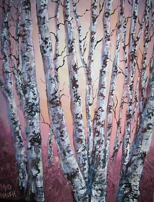 Painting - Birch Trees At Sunset by Megan Walsh