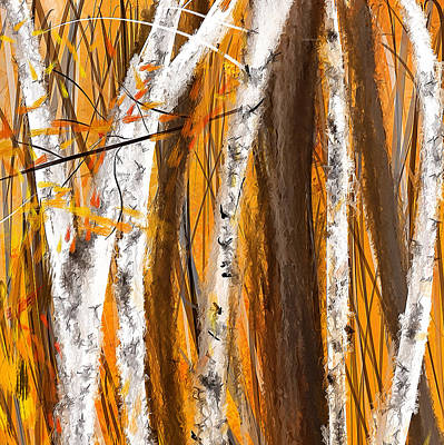 Birch Trees Autumn Print by Lourry Legarde