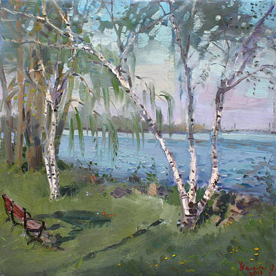 Ny Painting - Birch Trees By The River by Ylli Haruni